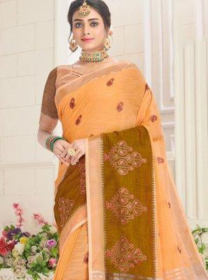 Orange Embroidered Cotton Classic Saree
