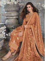 Orange Embroidered Designer Palazzo Salwar Suit