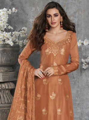 Orange Embroidered Designer Palazzo Salwar Suit