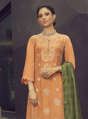 Orange Embroidered Designer Palazzo Suit