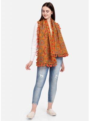 Orange Embroidered Party Designer Dupatta