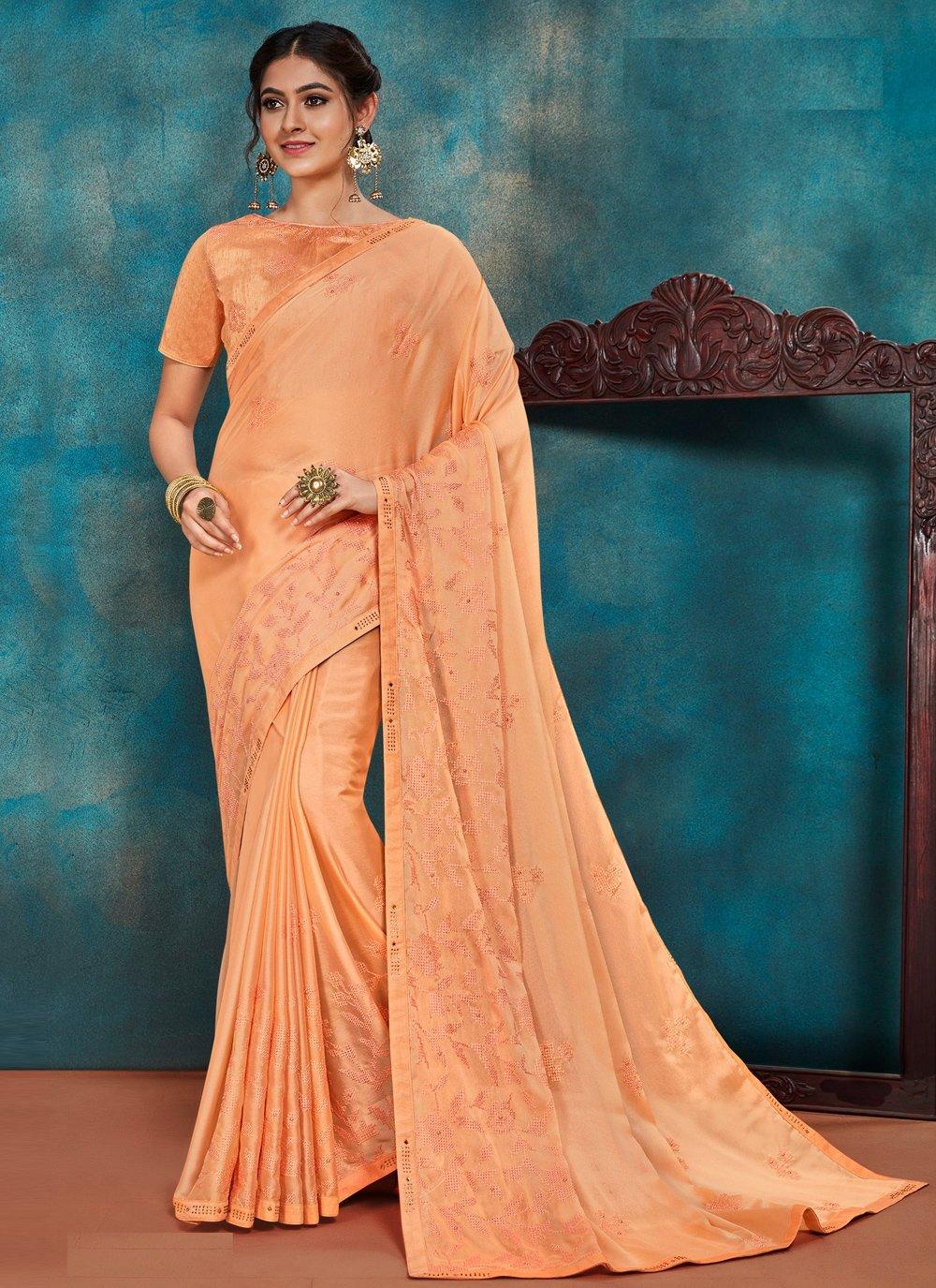 Orange Embroidered Poly Silk Traditional Designer Saree