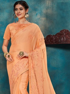 Orange Embroidered Poly Silk Traditional Designer Saree