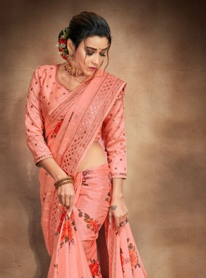 Orange Embroidered Satin Printed Saree
