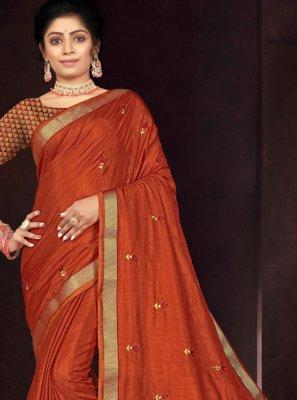 Orange Embroidered Vichitra Silk Traditional Saree
