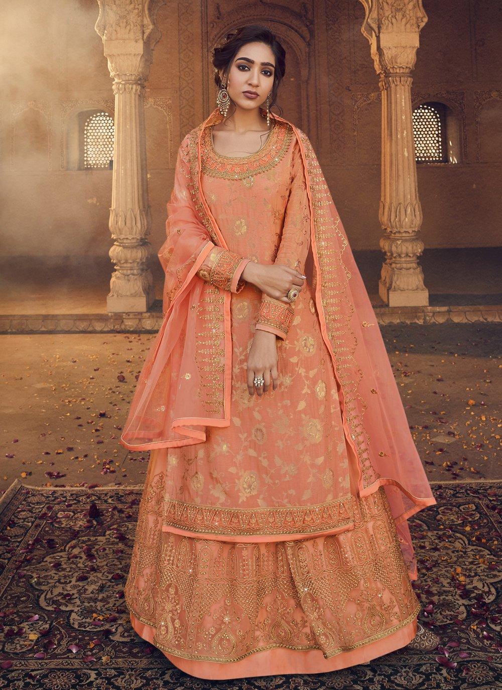 Orange Engagement Jacquard Long Choli Lehenga