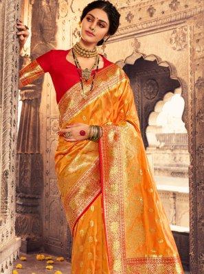 Orange Fancy Banarasi Silk Traditional Designer Saree
