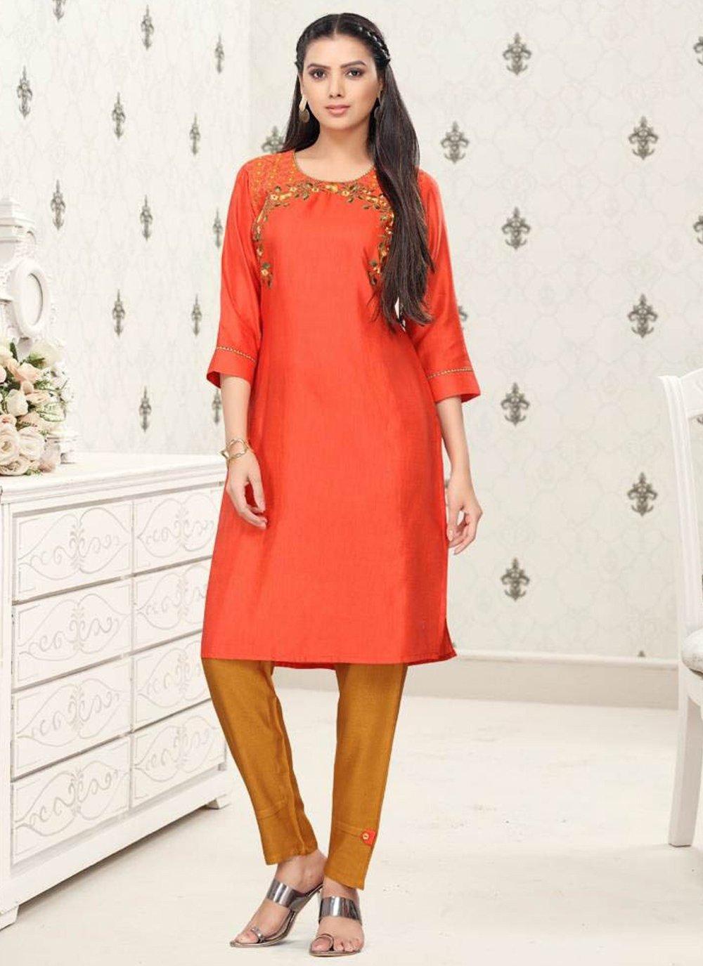 Orange Fancy Fabric Party Wear Kurti