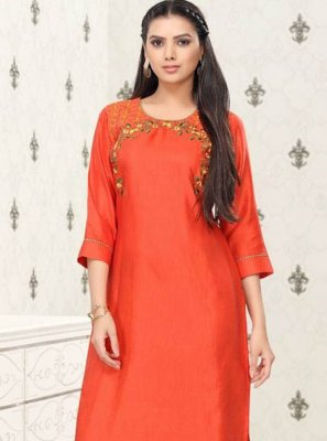 Orange Fancy Fabric Party Wear Kurti