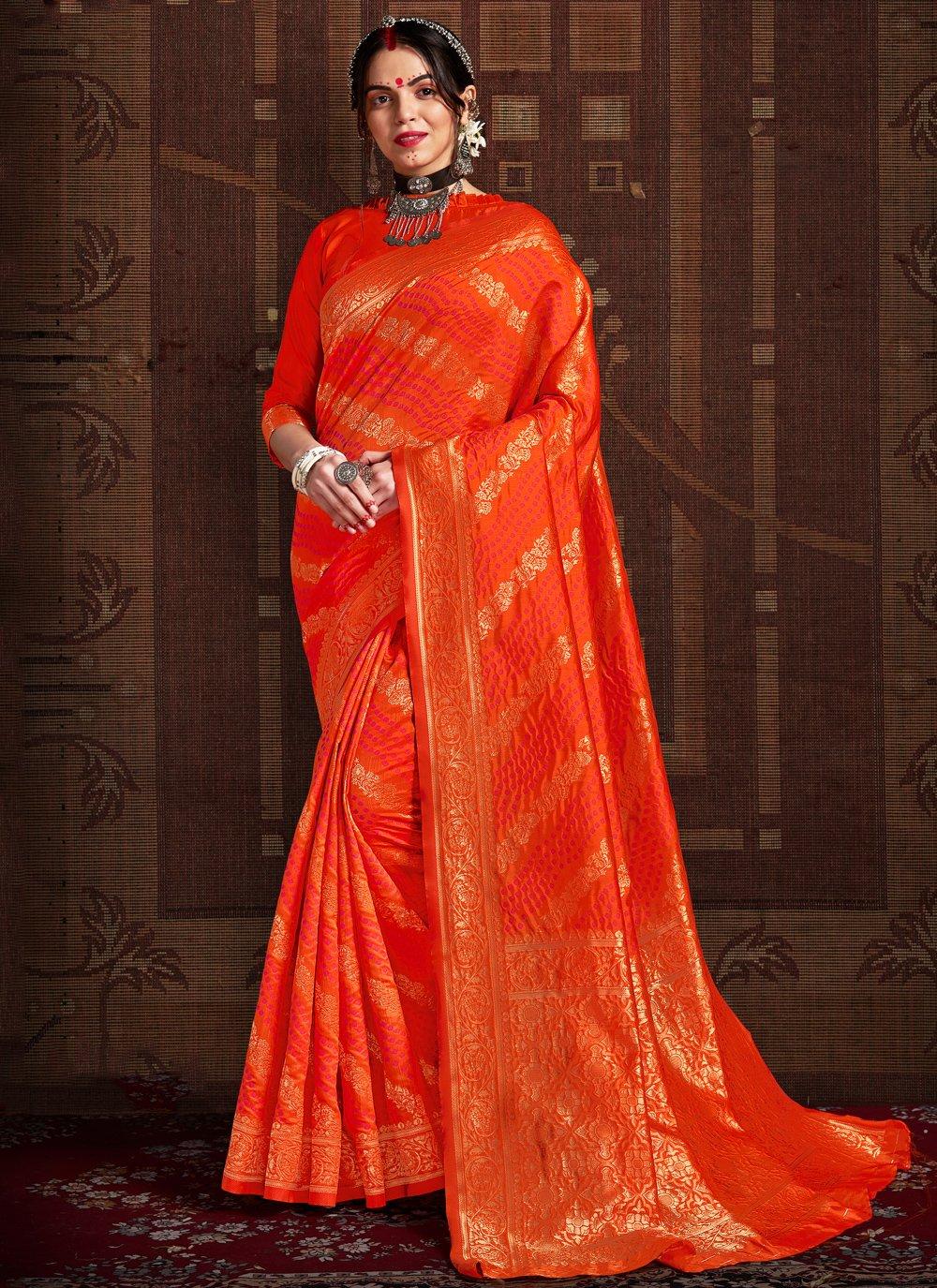 Orange Fancy Fabric Wedding Designer Traditional Saree