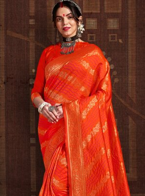 Orange Fancy Fabric Wedding Designer Traditional Saree