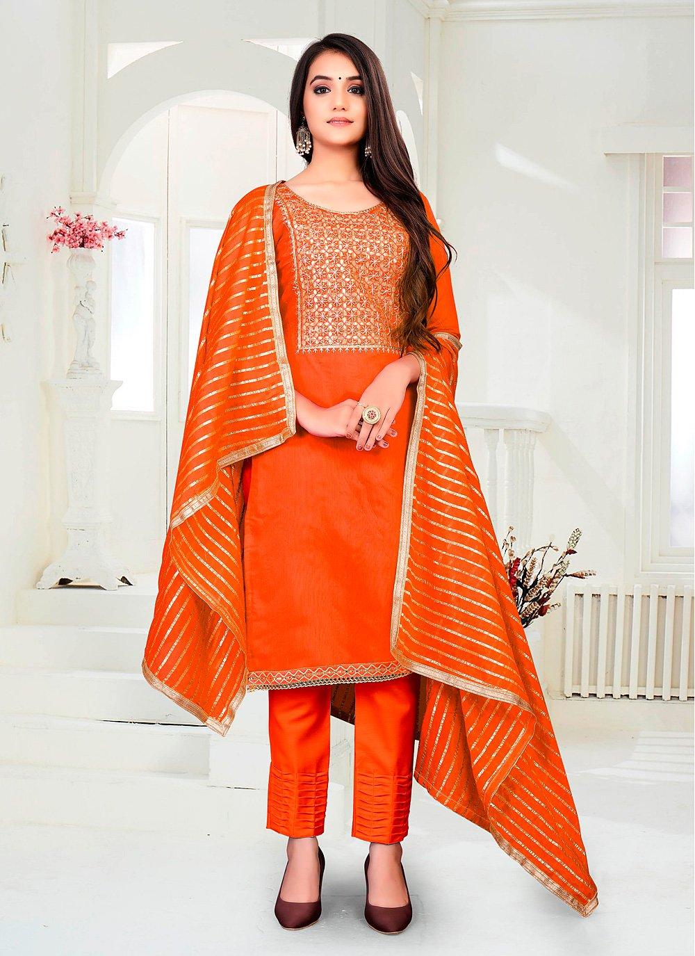 Orange Fancy Pant Style Suit
