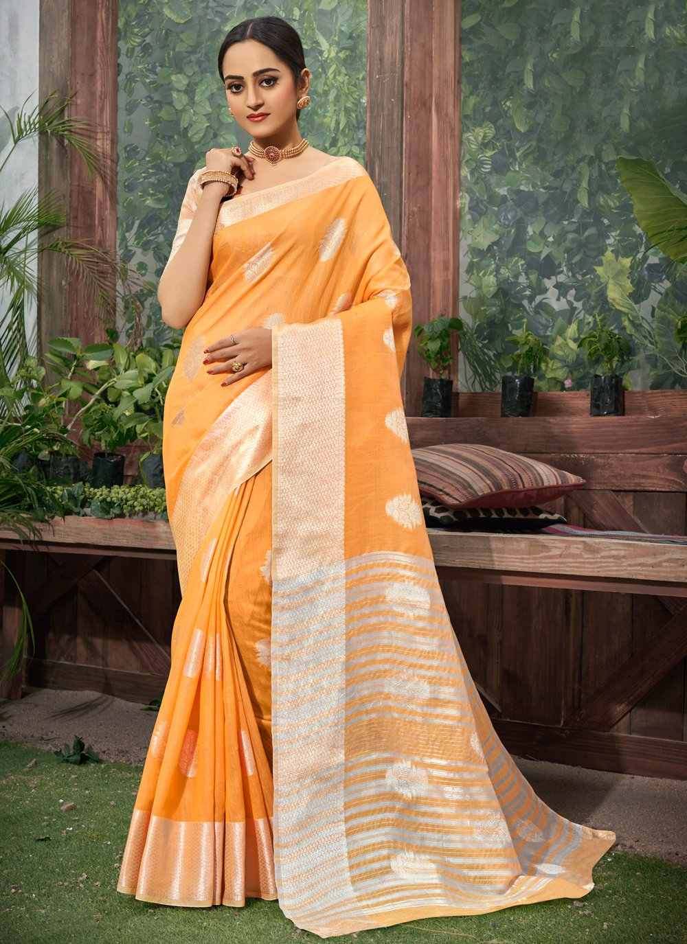 Orange Fancy Trendy Saree