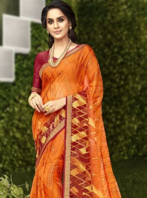 Orange Faux Georgette Casual Saree