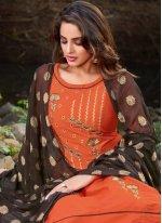 Orange Festival Banarasi Silk Designer Salwar Suit