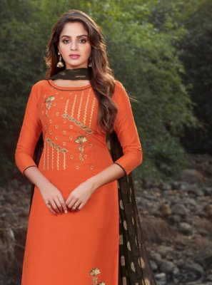 Orange Festival Banarasi Silk Designer Salwar Suit