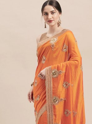 Orange Festival Classic Designer Saree