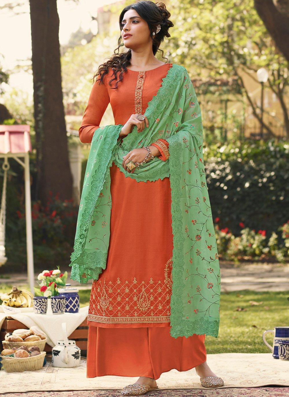 Orange Festival Designer Palazzo Salwar Suit