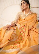Orange Festival Designer Saree