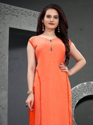 Orange Festival Muslin Party Wear Kurti