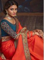 Orange Festival Silk Designer Traditional Saree
