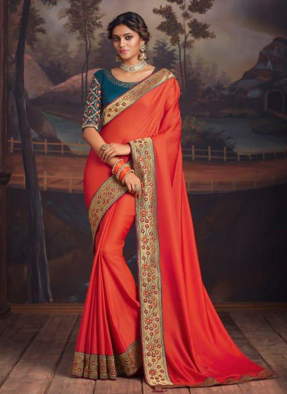 Orange Festival Silk Designer Traditional Saree