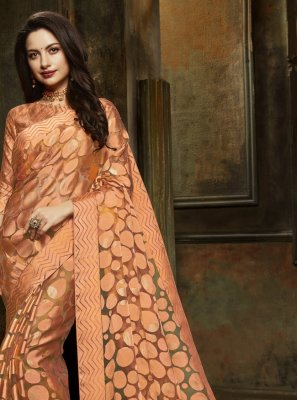Orange Festival Tissue Designer Saree