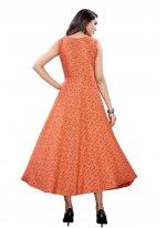 Orange Floral Print Party Wear Kurti