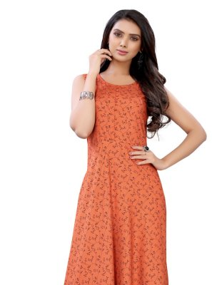 Orange Floral Print Party Wear Kurti