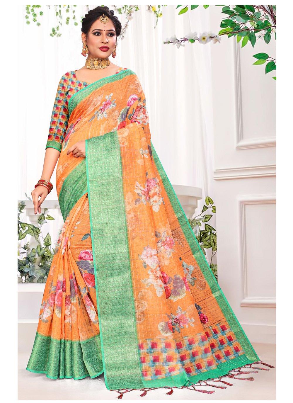 Orange Floral Print Printed Saree