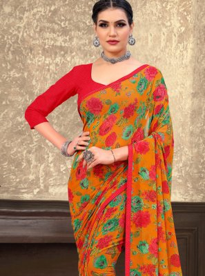 Orange Georgette Contemporary Saree