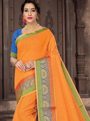 Orange Handloom Cotton Traditional Saree