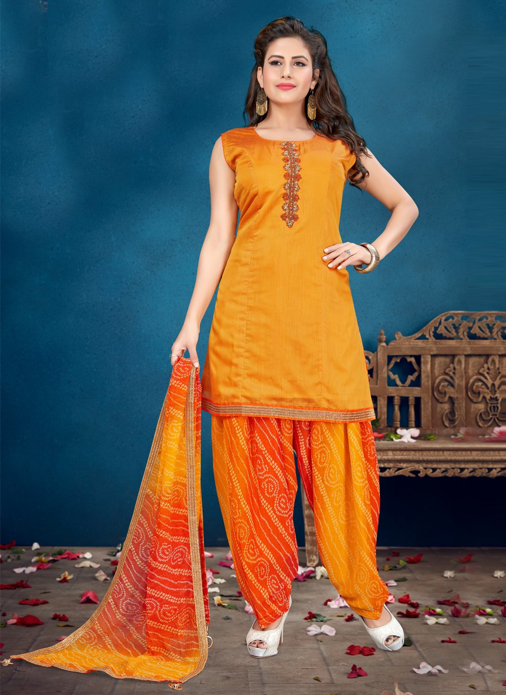 Orange Handwork Designer Patiala Salwar Kameez