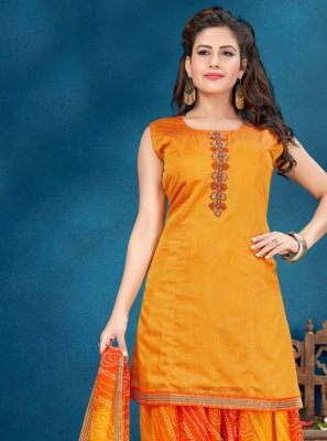 Orange Handwork Designer Patiala Salwar Kameez