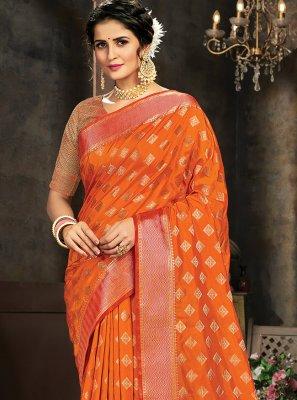 Orange Jacquard Work Silk Trendy Saree