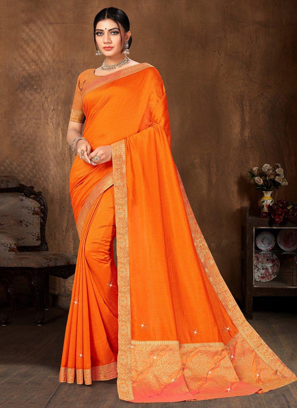 Orange Lace Designer Traditional Saree