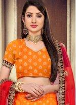 Orange Lace Engagement Lehenga Choli