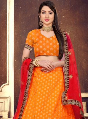 Orange Lace Engagement Lehenga Choli