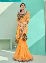 Orange Lace Faux Chiffon Classic Saree