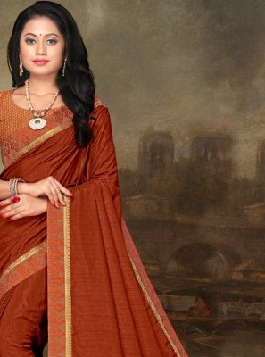 Orange Lace Festival Traditional Saree