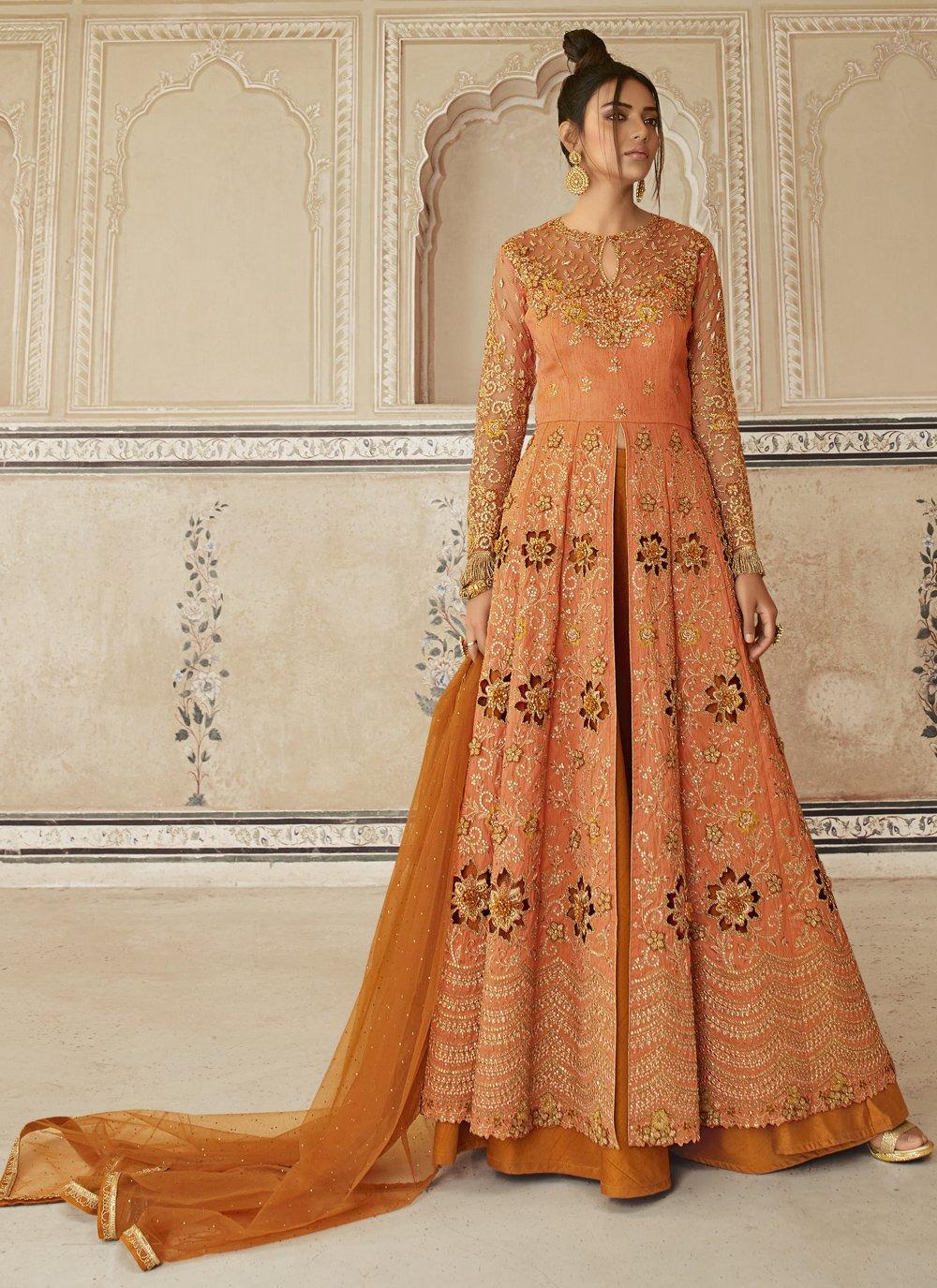 Orange Net Designer Long Lehenga Choli