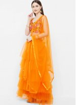 Orange Net Festival Readymade Lehenga Choli