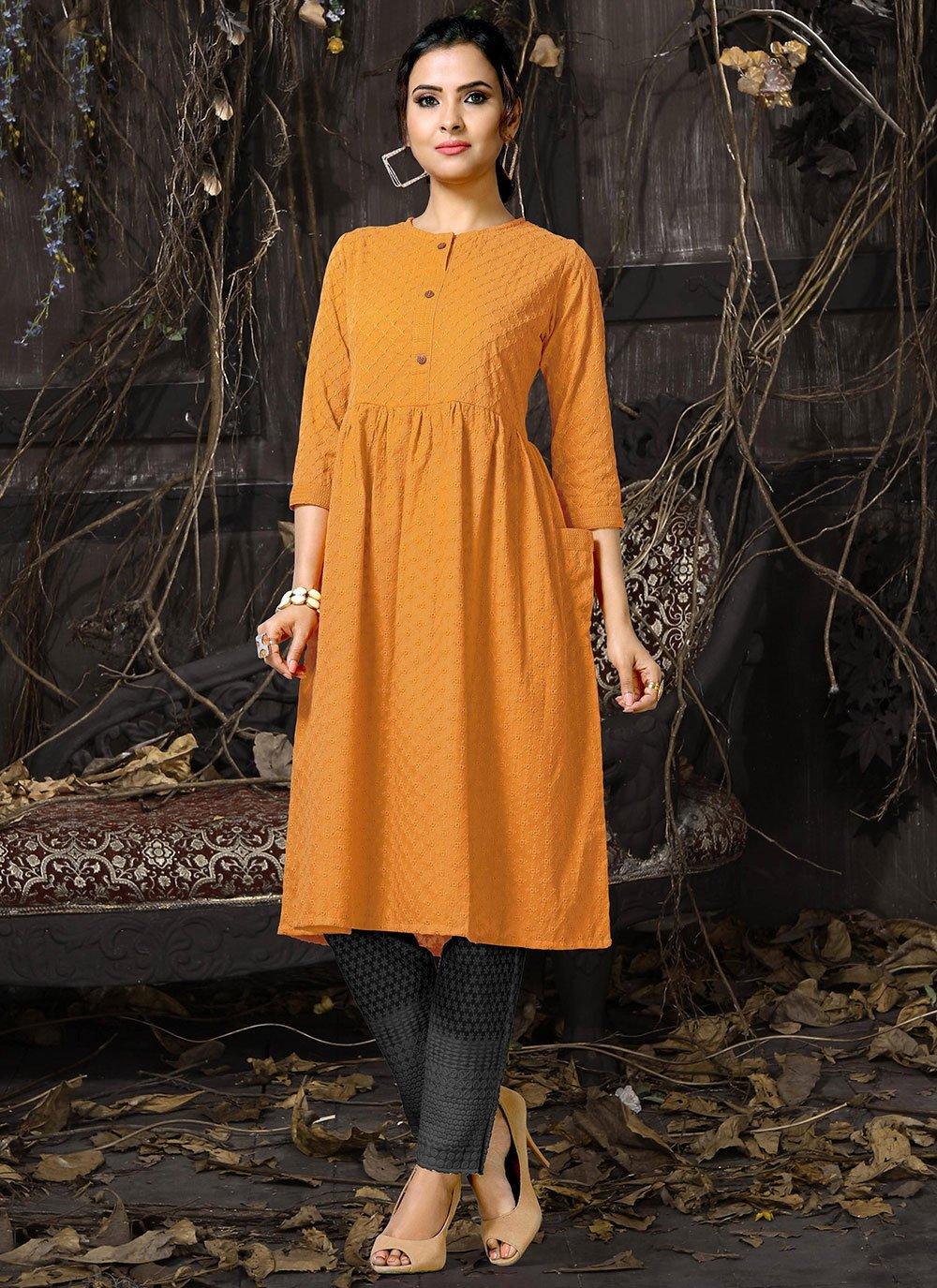 Orange Party Designer Kurti