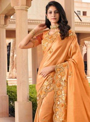 Orange Party Georgette Bollywood Saree