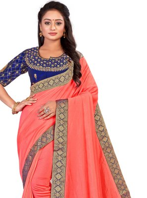 Orange Patch Border Art Silk Traditional Designer Saree