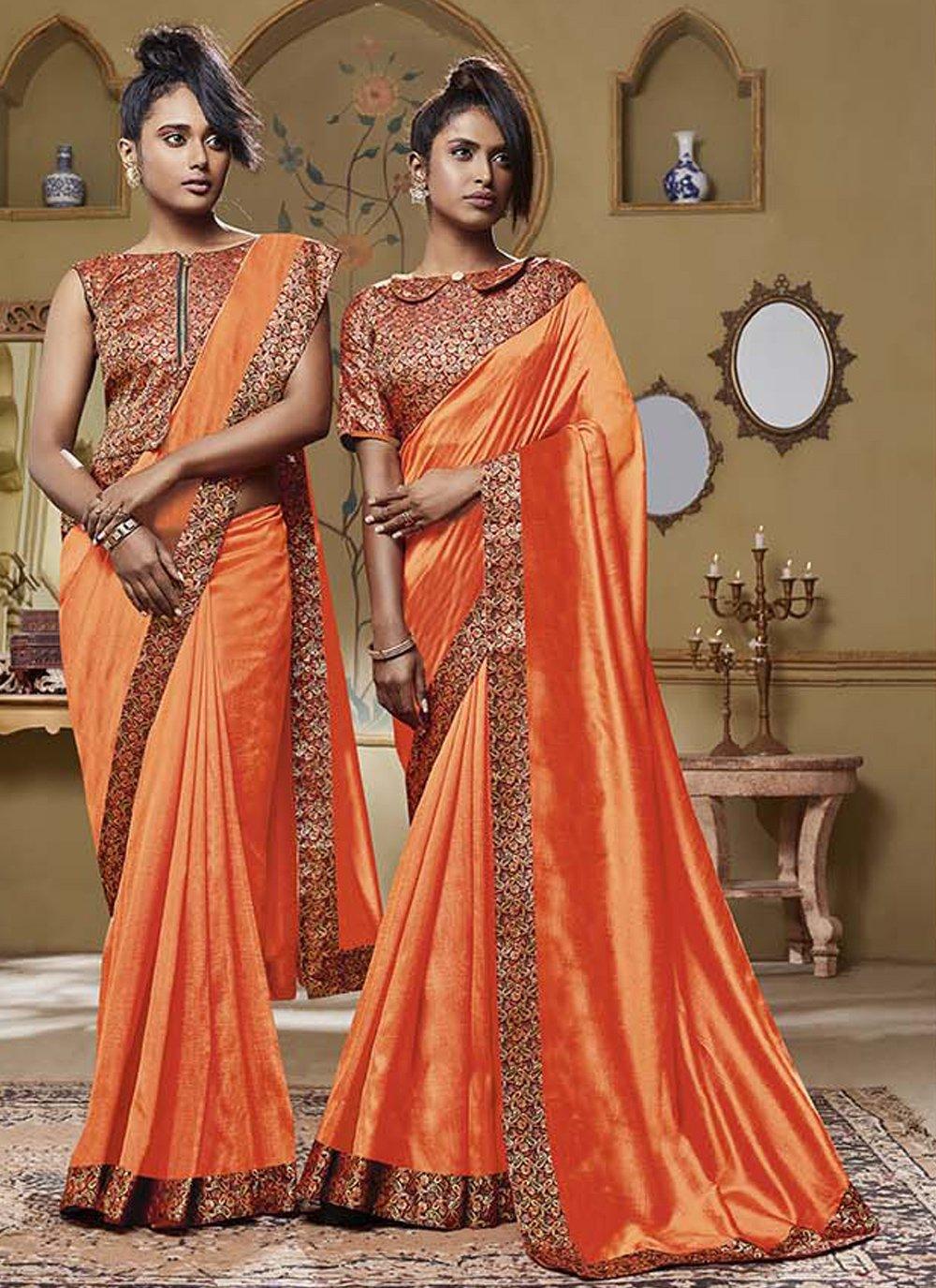 Orange Patch Border Classic Designer Saree