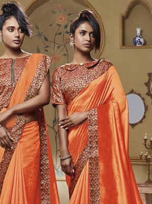 Orange Patch Border Classic Designer Saree