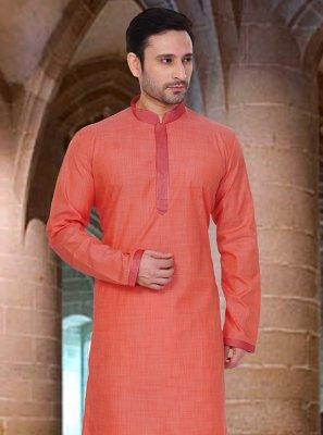 Orange Plain Poly Cotton Kurta Pyjama