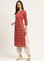 Orange Print Cotton Readymade Suit