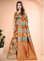 Orange Printed Art Banarasi Silk Designer Traditional Saree